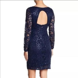 MARINA Navy Blue Open Back Lace Sequined Dress